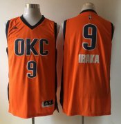 Wholesale Cheap Men's Oklahoma City Thunder #9 Serge Ibaka Revolution 30 Swingman 2015-16 New Orange Jersey