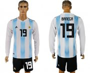 Wholesale Cheap Argentina #19 Banega Home Long Sleeves Soccer Country Jersey