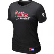 Wholesale Cheap Women's Philadelphia Phillies Nike Short Sleeve Practice MLB T-Shirt Black