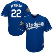 Wholesale Cheap Dodgers #22 Clayton Kershaw Blue Cool Base 2018 World Series Stitched Youth MLB Jersey