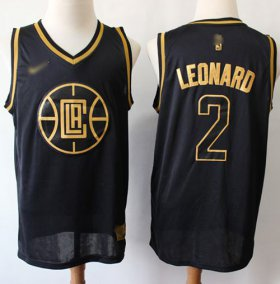 Wholesale Cheap Nike Clippers #2 Kawhi Leonard Black Gold NBA Swingman Limited Edition Jersey