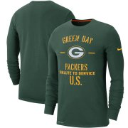 Wholesale Cheap Men's Green Bay Packers Nike Green 2019 Salute to Service Sideline Performance Long Sleeve Shirt