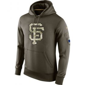 Wholesale Cheap Men\'s San Francisco Giants Nike Olive Salute To Service KO Performance Hoodie