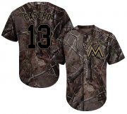 Wholesale Cheap Marlins #13 Starlin Castro Camo Realtree Collection Cool Base Stitched Youth MLB Jersey