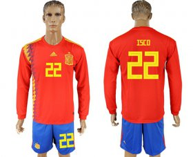 Wholesale Cheap Spain #22 Isco Red Home Long Sleeves Soccer Country Jersey