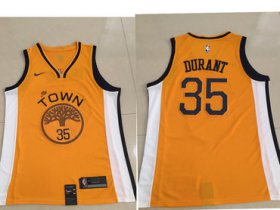 Wholesale Cheap Men\'s Golden State Warriors #35 Kevin Durant Nike Yellow 2018/19 Swingman Earned Edition Jersey