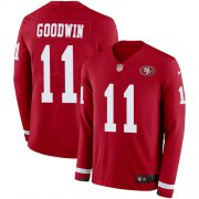 Wholesale Cheap Nike 49ers #11 Marquise Goodwin Red Team Color Men's Stitched NFL Limited Therma Long Sleeve Jersey