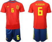 Wholesale Cheap Spain #6 A.Iniesta Home Soccer Country Jersey