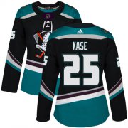 Wholesale Cheap Adidas Ducks #25 Ondrej Kase Black/Teal Alternate Authentic Women's Stitched NHL Jersey