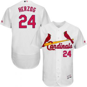 Wholesale Cheap Cardinals #24 Whitey Herzog White Flexbase Authentic Collection Stitched MLB Jersey