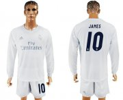 Wholesale Cheap Real Madrid #10 James Marine Environmental Protection Home Long Sleeves Soccer Club Jersey