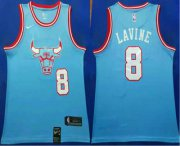 Wholesale Cheap Men's Chicago Bulls #8 Zach LaVine Blue 2019-20 City Edition Nike Swingman Stitched NBA Jersey