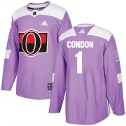 Wholesale Cheap Adidas Senators #1 Mike Condon Purple Authentic Fights Cancer Stitched Youth NHL Jersey
