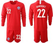 Wholesale Cheap Chile #22 Henriquez Home Long Sleeves Soccer Country Jersey