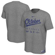 Wholesale Cheap Los Angeles Dodgers Nike 2019 Postseason Legend October T-Shirt Heather Gray