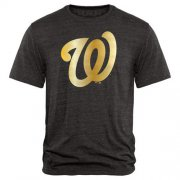Wholesale Cheap Washington Nationals Fanatics Apparel Gold Collection Tri-Blend T-Shirt Black