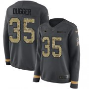 Wholesale Cheap Nike Patriots #35 Kyle Dugger Anthracite Salute to Service Women's Stitched NFL Limited Therma Long Sleeve Jersey