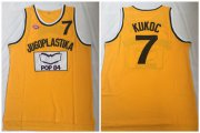 Wholesale Cheap Jugoplastika Yugoslavia Croatia 7 Toni Kukoc Yellow Movie Stitched Basketball Jersey