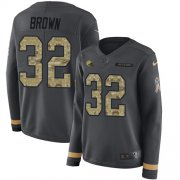 Wholesale Cheap Nike Browns #32 Jim Brown Anthracite Salute to Service Women's Stitched NFL Limited Therma Long Sleeve Jersey