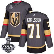Wholesale Cheap Adidas Golden Knights #71 William Karlsson Grey Home Authentic 2018 Stanley Cup Final Stitched NHL Jersey