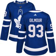 Wholesale Cheap Adidas Maple Leafs #93 Doug Gilmour Blue Home Authentic Women's Stitched NHL Jersey