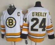 Wholesale Cheap Bruins #24 Terry O'Reilly White/Yellow CCM Throwback Stitched NHL Jersey
