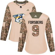 Wholesale Cheap Adidas Predators #9 Filip Forsberg Camo Authentic 2017 Veterans Day Women's Stitched NHL Jersey