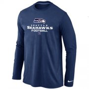 Wholesale Cheap Nike Seattle Seahawks Critical Victory Long Sleeve T-Shirt Dark Blue
