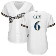 Wholesale Cheap Brewers #6 Lorenzo Cain White Home Women's Stitched MLB Jersey