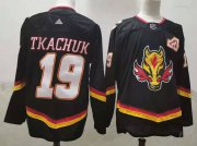 Wholesale Cheap Men's Calgary Flames #19 Matthew Tkachuk Black 2021 Retro Stitched NHL Jersey