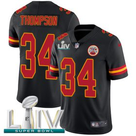 Wholesale Cheap Nike Chiefs #34 Darwin Thompson Black Super Bowl LIV 2020 Youth Stitched NFL Limited Rush Jersey