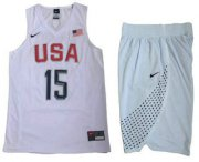 Wholesale Cheap 2016 Olympics Team USA Men's #15 Carmelo Anthony White Revolution 30 Swingman Basketball Jersey With Shorts