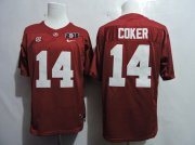 Wholesale Cheap Men's Alabama Crimson Tide #14 Jake Coker Red 2016 BCS College Football Nike Limited Jersey
