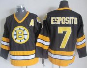 Wholesale Cheap Bruins #7 Phil Esposito Black/Yellow CCM Throwback Stitched NHL Jersey