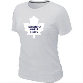 Wholesale Cheap Women\'s Toronto Maple Leafs Big & Tall Logo White NHL T-Shirt