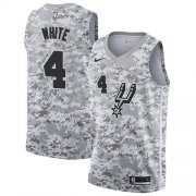 Wholesale Cheap Men's Nike San Antonio Spurs #4 Derrick White White Camo Basketball Swingman Earned Edition Jersey