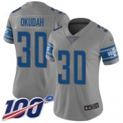 Wholesale Cheap Nike Lions #30 Jeff Okudah Gray Women's Stitched NFL Limited Inverted Legend 100th Season Jersey