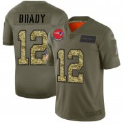 Wholesale Cheap New England Patriots #12 Tom Brady Men's Nike 2019 Olive Camo Salute To Service Limited NFL Jersey