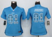 Wholesale Cheap Nike Lions #81 Calvin Johnson Light Blue Team Color Women's Stitched NFL Elite Strobe Jersey