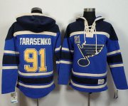 Wholesale Cheap Blues #91 Vladimir Tarasenko Light Blue Sawyer Hooded Sweatshirt Stitched NHL Jersey