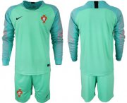 Wholesale Cheap Portugal Blank Green Goalkeeper Long Sleeves Soccer Country Jersey