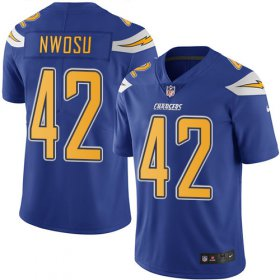 Wholesale Cheap Nike Chargers #42 Uchenna Nwosu Electric Blue Youth Stitched NFL Limited Rush Jersey