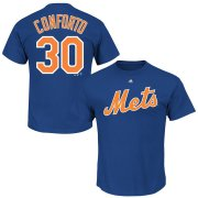 Wholesale Cheap New York Mets #30 Michael Conforto Majestic Official Name and Number T-Shirt Royal