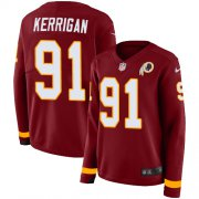 Wholesale Cheap Nike Redskins #91 Ryan Kerrigan Burgundy Red Team Color Women's Stitched NFL Limited Therma Long Sleeve Jersey