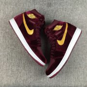 Wholesale Cheap Air Jordan 1 GS Retro Shoes Dark Red/Gold-White