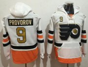 Wholesale Cheap Flyers #9 Ivan Provorov White 3rd Name & Number Pullover NHL Hoodie