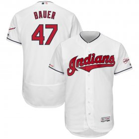 Wholesale Cheap Cleveland Indians #47 Trevor Bauer Majestic Home 2019 All-Star Game Patch Flex Base Player Jersey White