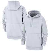 Wholesale Cheap Seattle Seahawks Nike NFL 100 2019 Sideline Platinum Therma Pullover Hoodie White