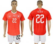 Wholesale Cheap Switzerland #22 Schar Red Home Soccer Country Jersey