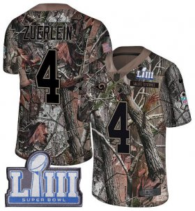 Wholesale Cheap Nike Rams #4 Greg Zuerlein Camo Super Bowl LIII Bound Men\'s Stitched NFL Limited Rush Realtree Jersey